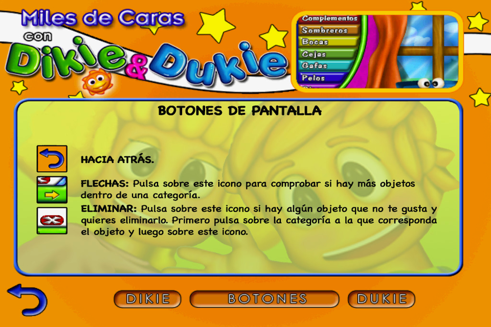 Screenshot Dikie & Dukie: Funny Faces in Spanish